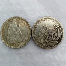 1847 Seated Liberty Silver Dollars One Dollar Coins Retail
