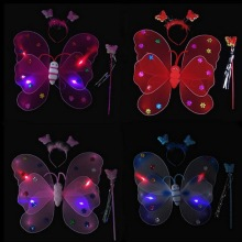 3 Pcs/Set Glow Angel Butterfly Wings ,Hair Hoop,Magic Wand Halloween Children Performing Photography Props Random Color