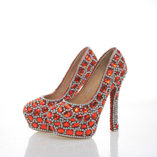 Newest Arrived Seven Kinds of Heel Height Red With Silver Color Rhinestone Bridesmaid Wedding Shoes Party Prom High Heels(China)