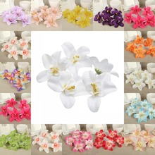 DIY 50Pcs 8cm Flower Heads Artificial Silk Cattleya Lily Flower Party Wedding Favors Home Decor(China)