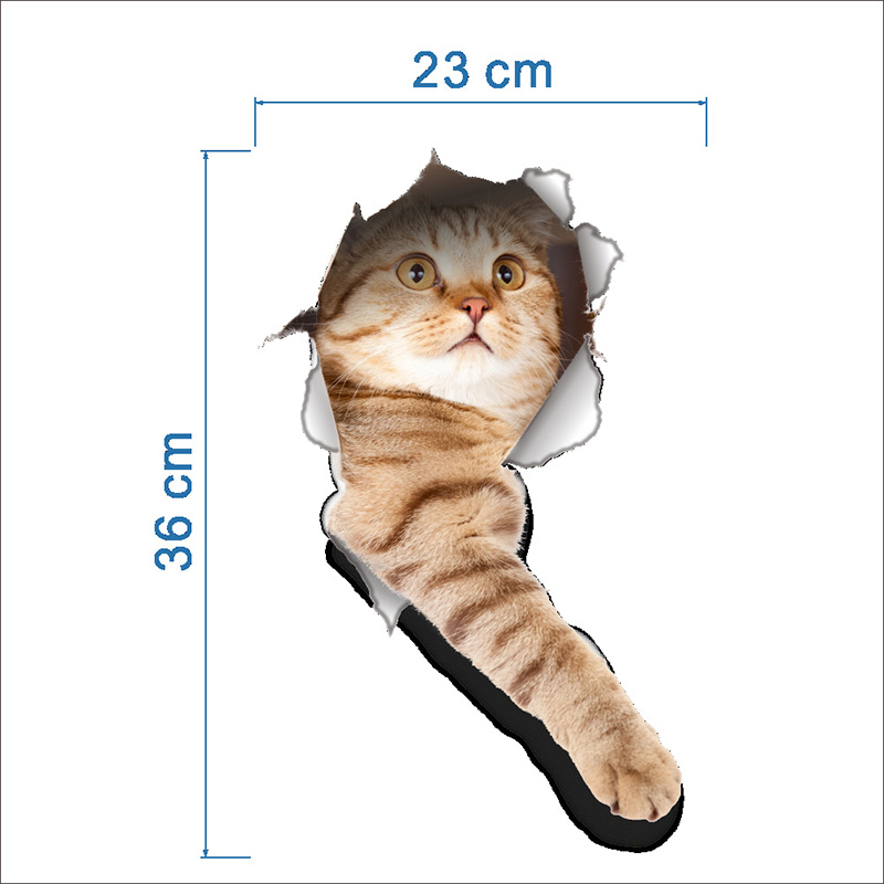 Cartoon animal 3d toilet stickers on the toilet seat cute cats PVC wall sticker bathroom refrigerator door decor stickers decals (9)