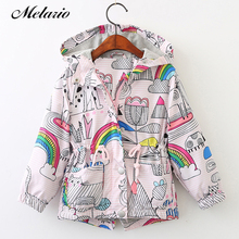 Melario Outwear&Coats 2017 Kids Coats Jackets Clothing Baby Girls Clothes Fashion Cartoon Brid&Flowers Print Hooded Outerwear(China)