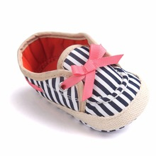[Bosudhsou] R-27 Baby Girl Bow Infant Toddler Striped Ballet Dress First Walkers Shoes Crib Babe Footwear Children Clothing