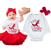 2017 Newborn Christmas clothing baby girls santa is my bestie print long sleeve white bodysuits newborn clothes long sleeve(China)