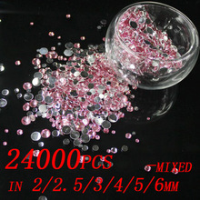 24000pcs Pink Color 2/2.5/3/4/5/6/mm Resin Rhinestones For Nail Art Flat Back Non Hotfix Stone 3D Nail Jewelry Charms Decoration(China)