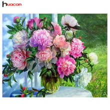 Huacan 3D DIY Diamond Embroidery Flowers Picture of Rhinestones Diamond Painting Cross Stitch Peony Needlework Gift Wall Decor