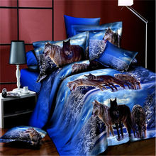 3D Bedclothes Wolf Leopard Tiger Lion Panda Flower 4pcs Bedding Sets King Or Queen Reactive Print(China)