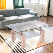 Goplus Rectangular Glass Coffee Table with Storage Shelf Modern Wood Legs Side Coffee Table Living Room Home Furniture HW52022(China)