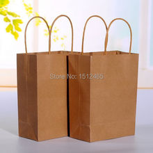 10pcs/lot Natural kraft paper bag with handle Party Gift Paper Bags Wedding Favors 21*15*8cm STD01-5(China)