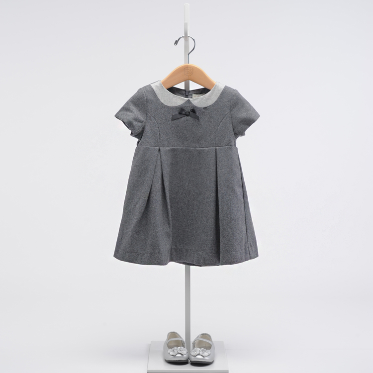 Girls grey wool wool dress 9a11c  sleeved girls temperament lady Mao Nequn<br>
