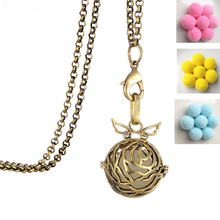 Clearance steampunk jewelry angel wing necklace new 2017 Locket Aromatherapy Perfume Essential Oil Necklace With Pom Pom Ball