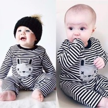 2017 Newborn Rompers Baby Boy Clothes Long Sleeve Cotton Body Baby Girl Clothes Cat Stripped Spring Baby Romper Clothing