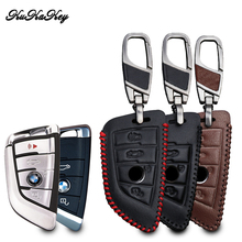 KUKAKEY Car Key Cases For BMW F30 F20 X1 X3 X5 X6 X7 F20 E34 E90 E60 E36 Smart-2/3button Genuine leather Key Cover Bag Fob Shell(China)