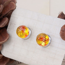 8SEASONS Resin Mermaid Fish /Dragon Scale Women Ear Studs Earrings Red & Yellow Round Transparent Faceted 18mm x 8mm, 1 Pair(China)
