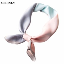 GERINLY Bandana Silk Square Scarf Geometric Color-Blocked Neckerchief for Women Ladies 70*70cm Luxury Hijab Scarves Foulard Wrap