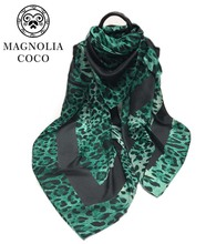 Europe Fashion Green Leopard Print Scarves Fall Winter Cotton Warm Scarf Shawl Women's Big Size Pashmina 2017