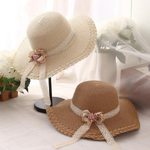 wholesale children baby summer sunhat lace bow pearl straw rose flower beach hat cap fit for 54cm 3-10 years old 2017 new