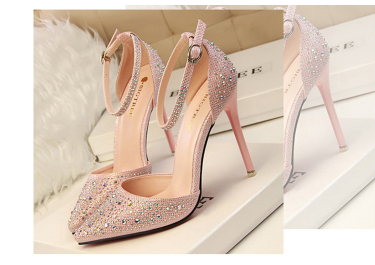 Women Pumps Sexy High Heels Shoes Woman Silver Rhinestone Wedding Shoes High Heels Party Shoes Summer Hight Heels Sandals 7