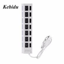Kebidu High Quality ON/OFF Sharing Switch Mini 7 Port USB 2.0 High Speed HUB Black For Laptop for PC Black ergonomic design(China)