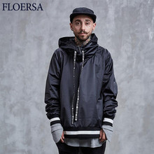 FLOERSA Hoodie Sweatshirt Black Zipper New Autumn Winter Hoodies Men Fashion Solid Tracksuit High Quality Sweat Homme#0838-45(China)