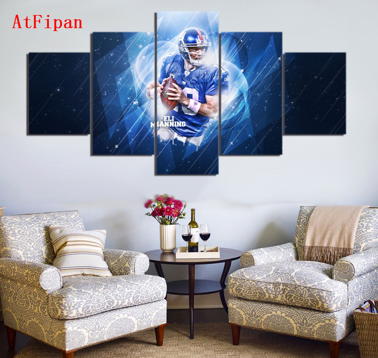 AtFipan Sports Stars Giants Eli Manning Modern Home Wall Decor Canvas Paintings For Living Room Vintage Modular Wall Paintings(China (Mainland))