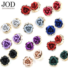 JOD Fashion shirt button on clothing Flower Small rose button for clothes ornament Buckle red black Garment Accessories(China)