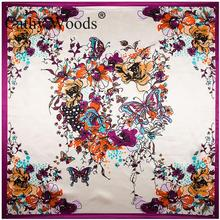 90cm*90cm Digital Printing Butterfly And Hand Painted Flower Women Silk Satin Scarf Large Square Scarf Female Long Wrap Shawl