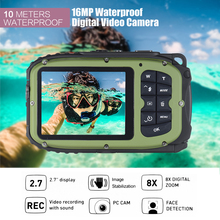 "Digital Video Camera 16MP 2.7"" LCD Waterproof Mini Camcorder DV Underwater Diving 8X Digital Zooming Face Detection"