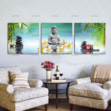 Wall Art Pictures Canvas Paintings Prints 3 Panels Buddha on Canvas Wall Decorations Artwork Giclee Canvas Paintings no frame(China)