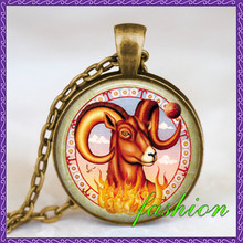 Aries zodiac sign bronze necklace , aries pendant , zodiac astrology red blue glass dome jewelry art gift for her gift for him