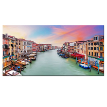 Canvas Print Wall Art Painting Italy Venice Water City Landscape Picture Artwork Sunset Poster Canvas Large