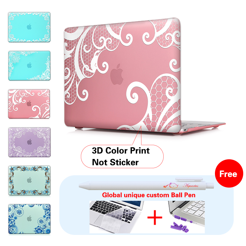 Lace + Pink Background Frosted Protective Case For Macbook Air Pro 11 13 15 Retina 13 Case For Mac book Pro 13 15 Retina Case<br><br>Aliexpress