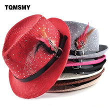 Fashion 2017 Spring summer sun hats for women and mens jazz Braid Cap Summer Beach Straw Panama feather Hat diamond femal Topper