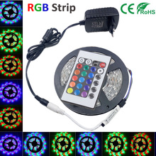 5M RGB Led Strip Light SMD 3528 waterproof  Flexible Light 5m/roll diode tape +EU/US dc 12V 2A Adapter+24keys controller led kit