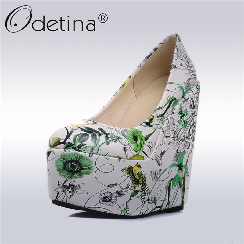 Odetina 2017 Fashion Women Flower Floral Print Pumps Platform Wedges Extreme High Heels Round Toe Ladies Party Shoes Big Size 43<br>