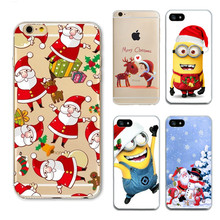 Ultra-thin Cute Cartoon Christmas Case For iphone 6 case For iPhone 6S 7 7Plus 5 5s Santa Claus Cover Phone Cases Capa Fundas