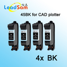 4x for hp 45 45BK black ink cartridge for CAD plotter inkjet machine(China)