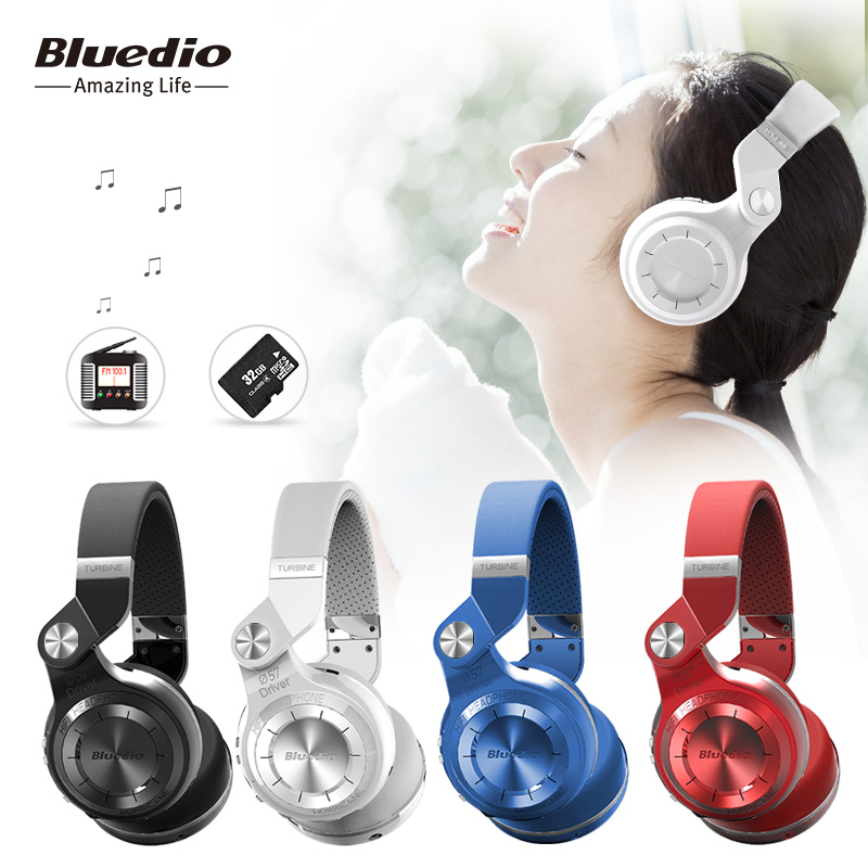 Original Bluedio T2+ Foldable Wireless Headset with Microphone Bluetooth Headphones Supports FM Radio and SD Card <br>