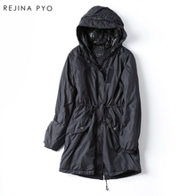 Rejina Pyo 2017 Women Autumn Winter Jacket Adjustable Waist Hooded Female Streetwear Cotton Parka High Street Fashion Brand New(China)