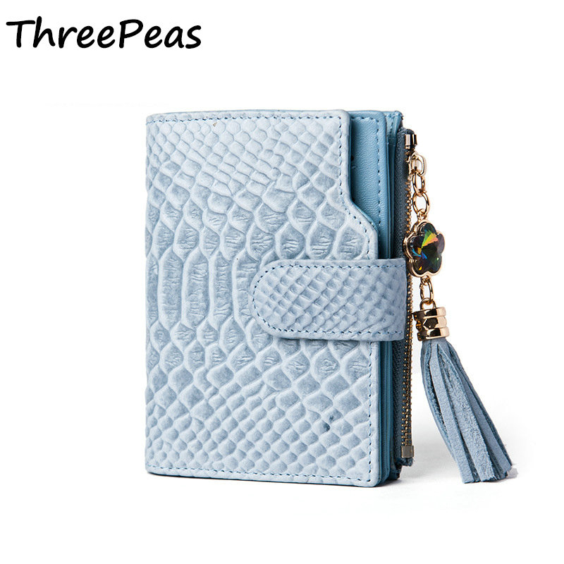 THREEPEAS Genuine Leather Women Wallet Purse Lady Short Design Female Day Clutch Coin Purses Alligator Leather Womens Wallets<br>