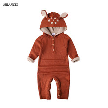 Wholesale 2017 Autumn Knitted baby boys girls clothes set long-sleeve Reindeer Newborn baby Romper jumpsuit roupas de bebe(China)
