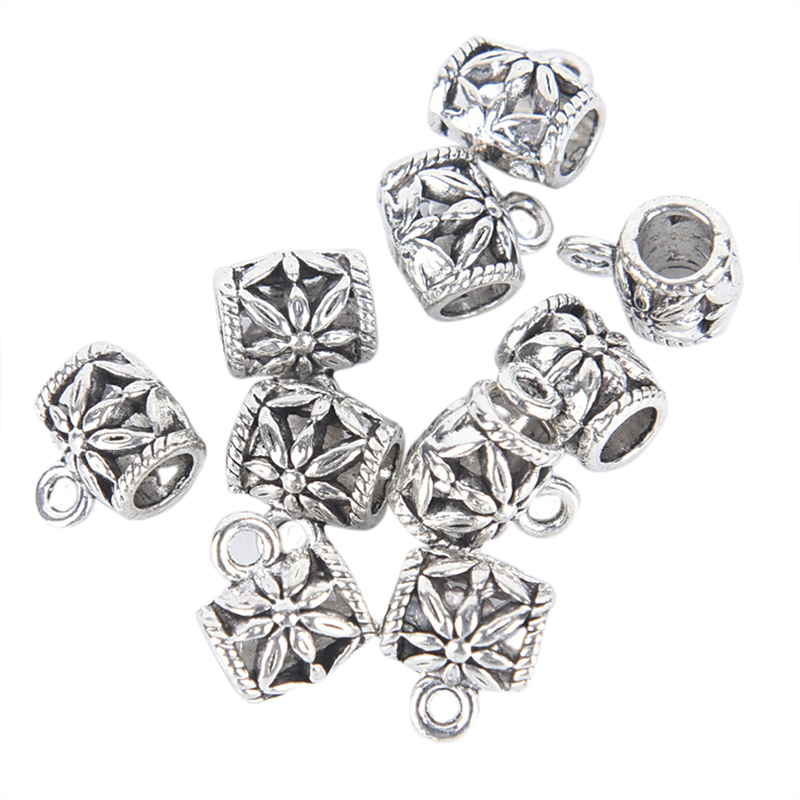 10Pcs Tibetan Beads Fit Bracelet Charms Pendants Jewelry DIY Making Findings Silver Plated Charms