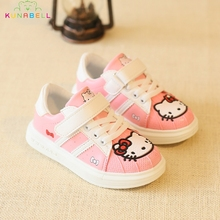 2017 Spring Girls Sneakers Children Casual Hello Kitty Shoes Kids Shell Head Shoes Girls KT Cats Breathable Flats Shoes C214