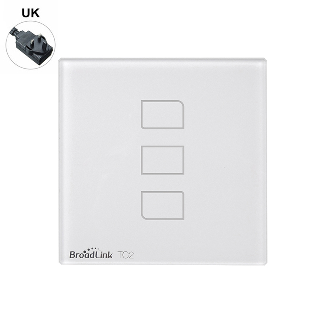 Broadlink UK Plug Touch Switch RF433 Wall Switch Wifi Wireless Remote Control Light Switches TC2 1Gang 2Gang 3Gang<br>