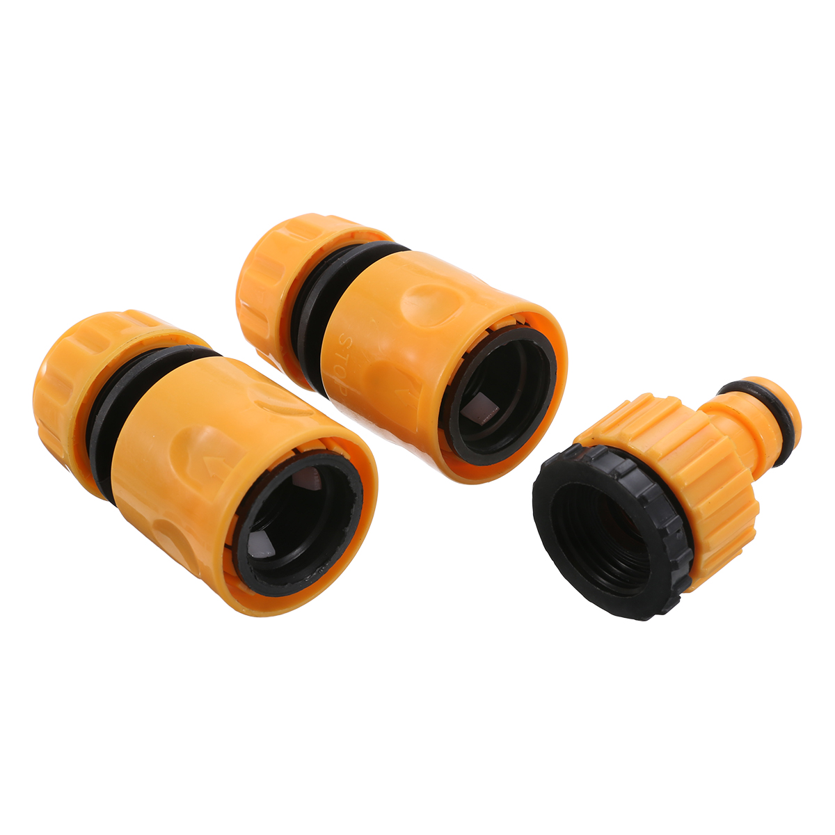 """3PCS Fast Coupling Adapter Drip Tape For Irrigation Hose Connector With 1/2"""" 3/4"""" Barbed Connector Garden Irrigation Tool Yellow"""