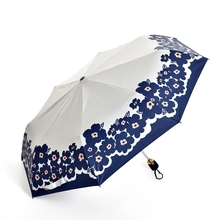 Black Coating Auto Bow Windproof Umbrella Rain Women white UV Protection Paraguas Brolly 3Folding flower Rian Gear Free Shipping