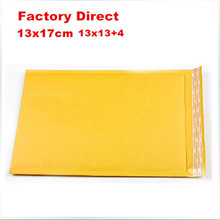 50pcs 130x170mm Factory price factory wholesale high quality 13x17cm Kraft Bubble Mailers Padded Envelopes Bags 13*13+4cm(China)