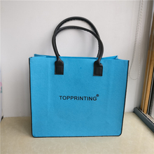 wholesale 500pcs/lot Custom Printed company logo High quality Wool Felt Fabric Luxury shopping bags Gift Eco File tote bags ads(China)