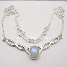 Pure Silver Beautiful RAINBOW MOONSTONE WELL MADE Necklace COMBINED SHIPPING