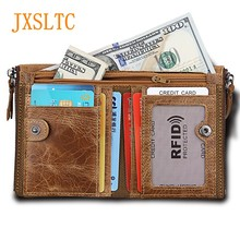 JXSLTC Genuine Leather Wallet purse for Men Double Zipper Buckle Card holder High-quality Men and Women Business Folding Wallets(China)